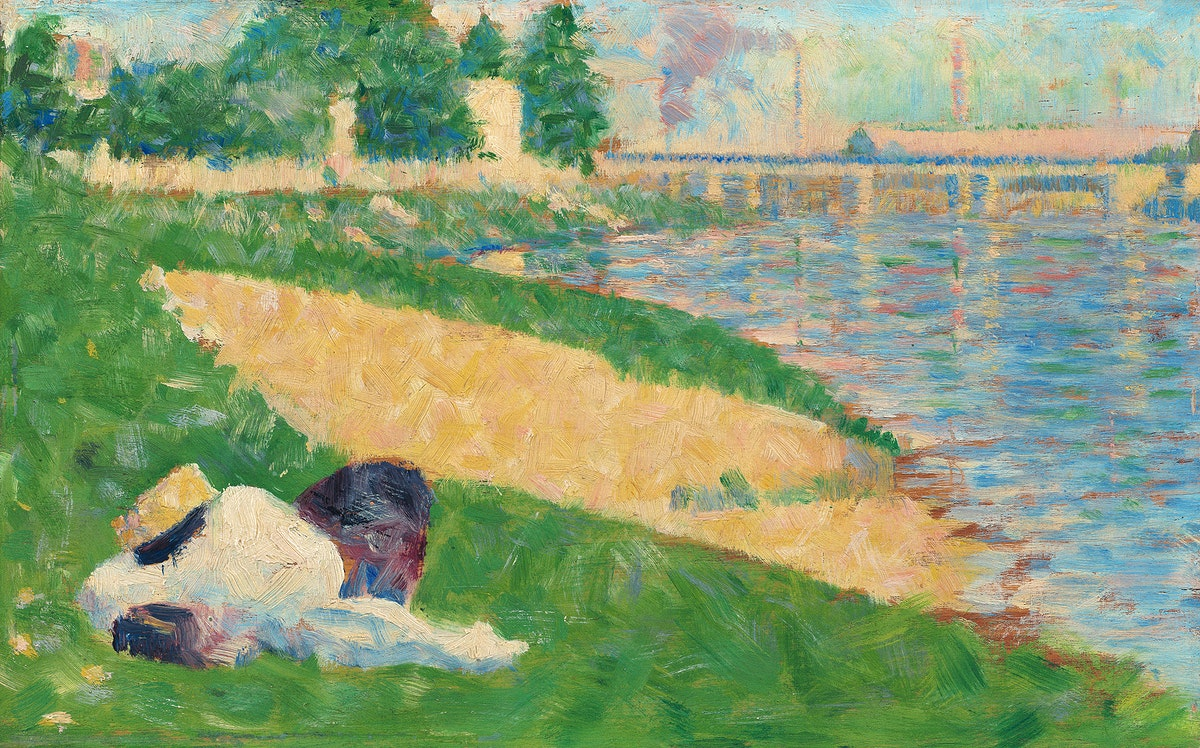 """The Seine with Clothing on the Bank (Study for """"Bathers at Asnières"""") (ca. 1883–1884) by Georges Seurat.…"""