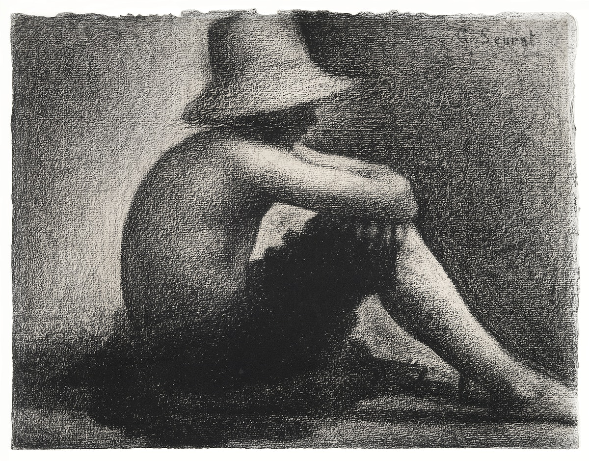 Seated Boy with Straw Hat, study for Bathers at Asnières (ca. 1883–1884) by Georges Seurat. Original from Yale…