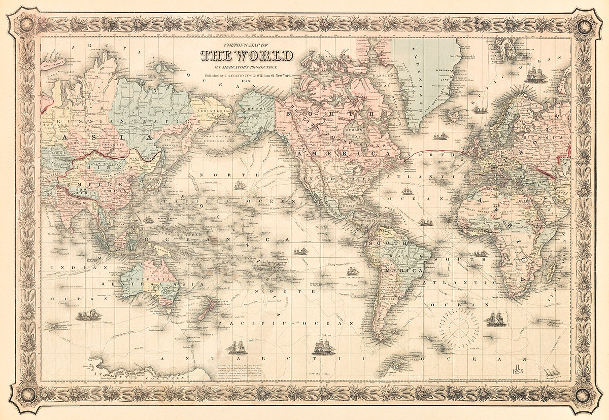 Colton's Map of the World on Mercator's Projection (1858) by J.H. Colton & Co. Original from The Beinecke Rare Book &…