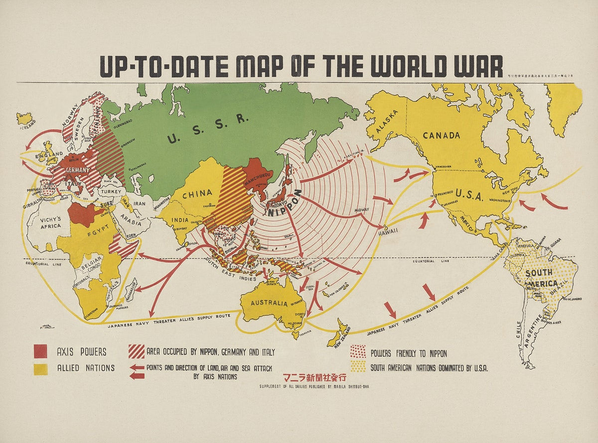 Up-to-date map of the world war (1942) by Manila Shinbun-sha. Original from The Beinecke Rare Book & Manuscript Library.…