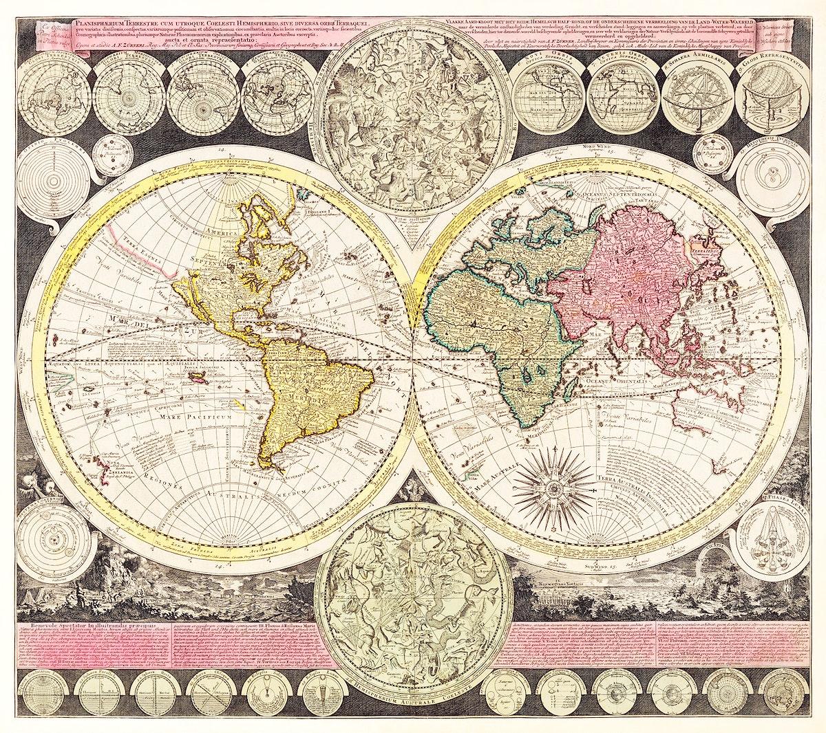 Vlakke aard-kloot met het beide hemelsch half-rond, of de onder scheidene verbeelding van de land-water-waereld (1709) by…