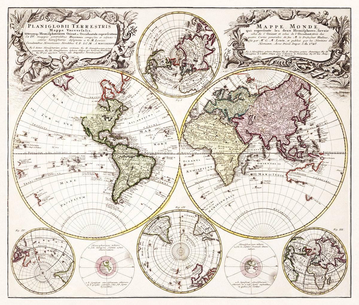 Planiglobii terrestris mappa vniversalis (1746) by George Moritz, Johann Matthias Hase, and Homann Erben. Original from The…