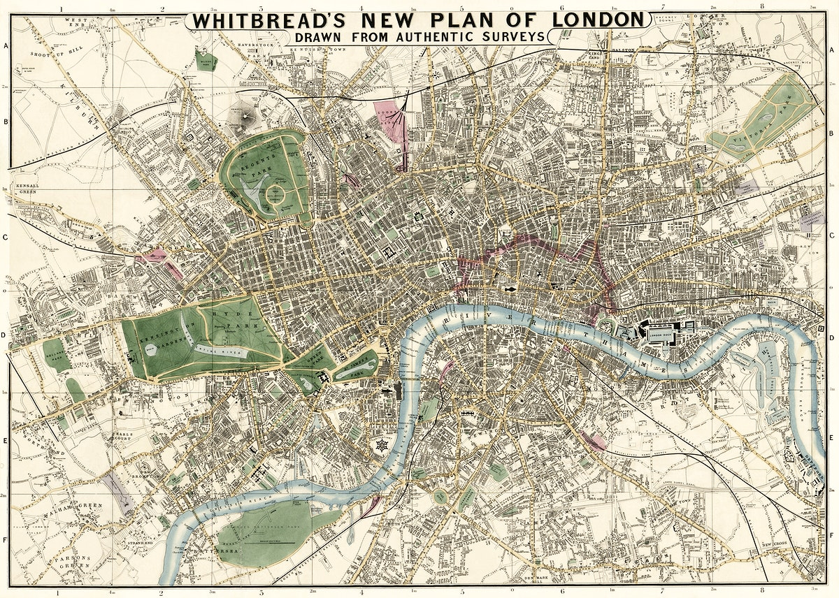 Whitbread's new plan of London: drawn from authentic survey (1853) by  J. Whitbread. Original from Library of Congress.…