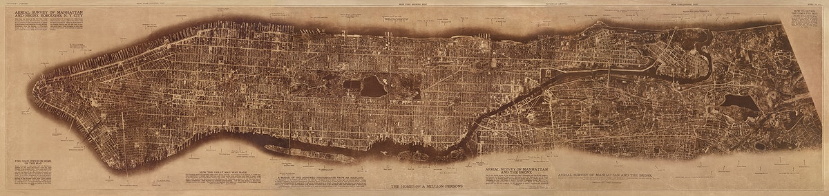 New York City, photographed from two miles up in the air (1922) from The Lionel Pincus and Princess Firyal Map Division.…