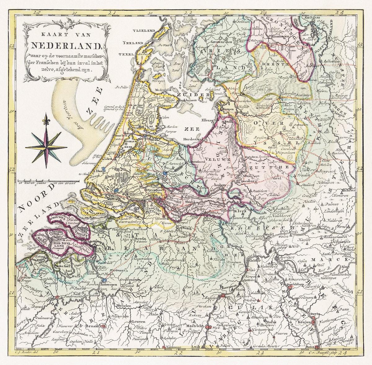 Kaart van Nederland met de marsroutes van het Franse leger (1792) by Cornelis van Baarsel. Original from The Rijksmuseum.…