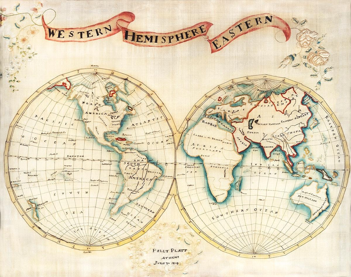 Map sampler made at Pleasent Valley Quaker Boarding School (1809) by Polly Platt. Original from The MET Museum. Digitally…