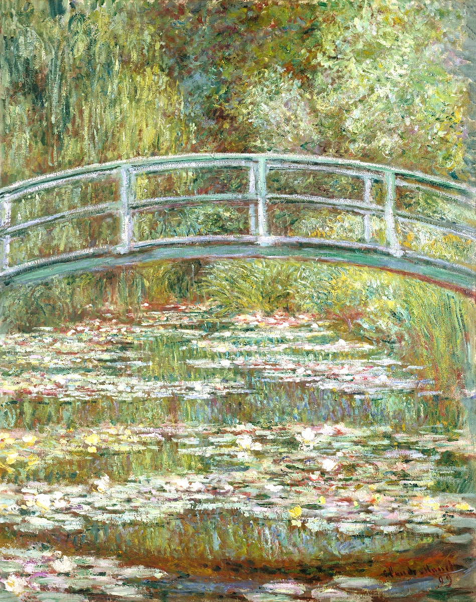 Bridge over a Pond of Water Lilies by Claude Monet, high resolution famous painting. Original from The ME. Digitally enhanced…