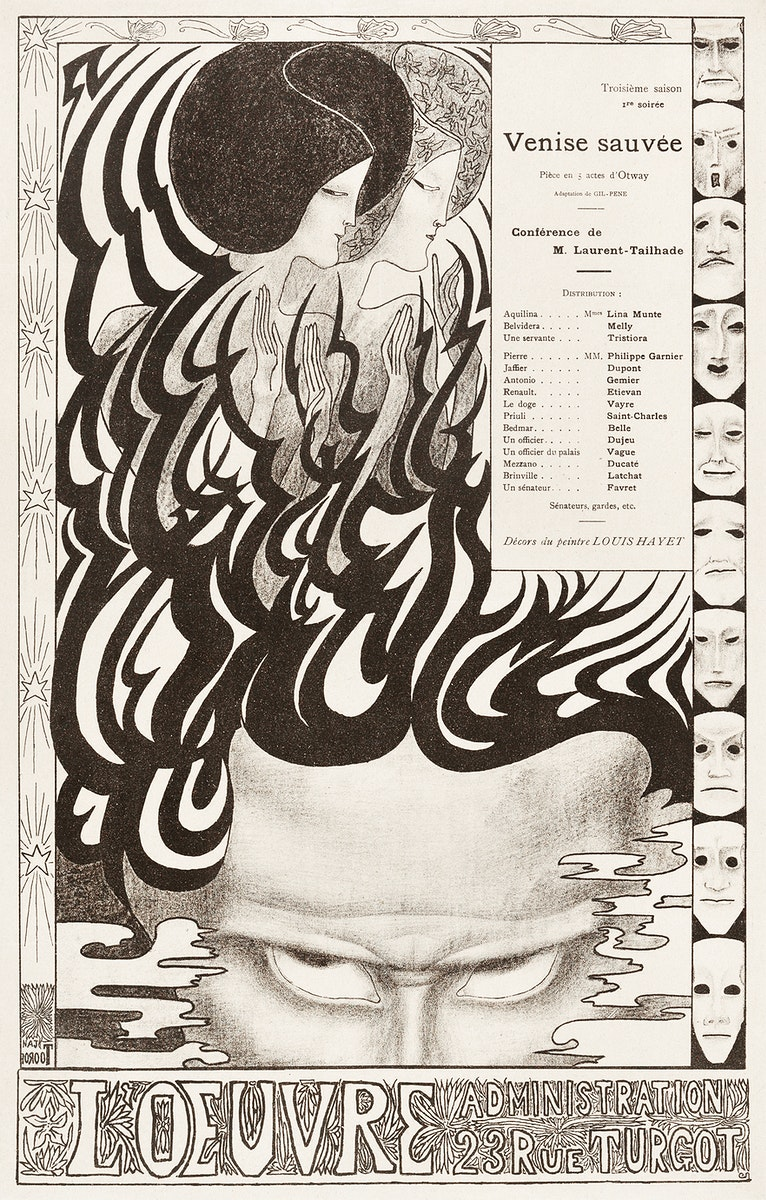 Theatre programme for Venise sauvée by Thomas Otway (1858–1928) by Jan Toorop. Original from The Rijksmuseum.…