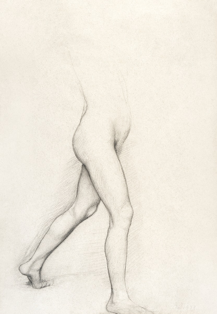 """Study of a Girl's Legs for the painting """"Young Spartans"""" (ca. 1860–1862) drawing in high resolution by Edgar Degas.…"""