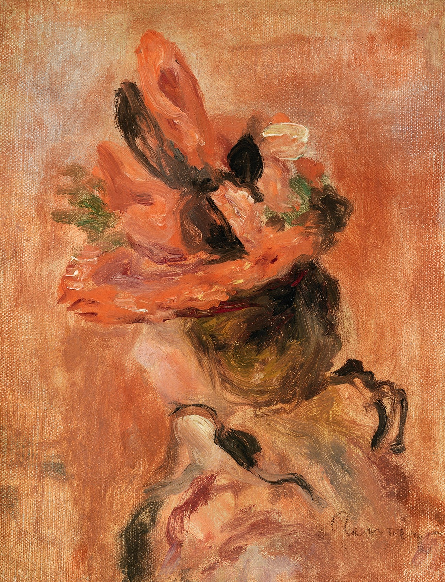 Woman's Head with Red Hat (1890) by Pierre-Auguste Renoir. Original from Barnes Foundation. Digitally enhanced by rawpixel.