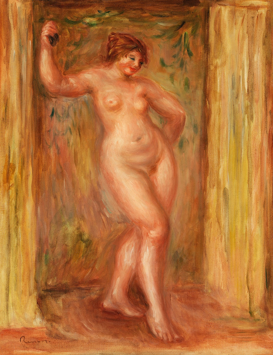 Nude with Castanets (1918) by Pierre-Auguste Renoir. Original from Barnes Foundation. Digitally enhanced by rawpixel.