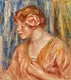 """Young Woman with Rose (Jeune fille &Atilde;  la rose) (1917) by <a href=""""https://www.rawpixel.com/search/Pierre-Auguste%20Renoir?sort=curated&amp;page=1"""">Pierre-Auguste Renoir</a>. Original from Barnes Foundation. Digitally enhanced by rawpixel."""