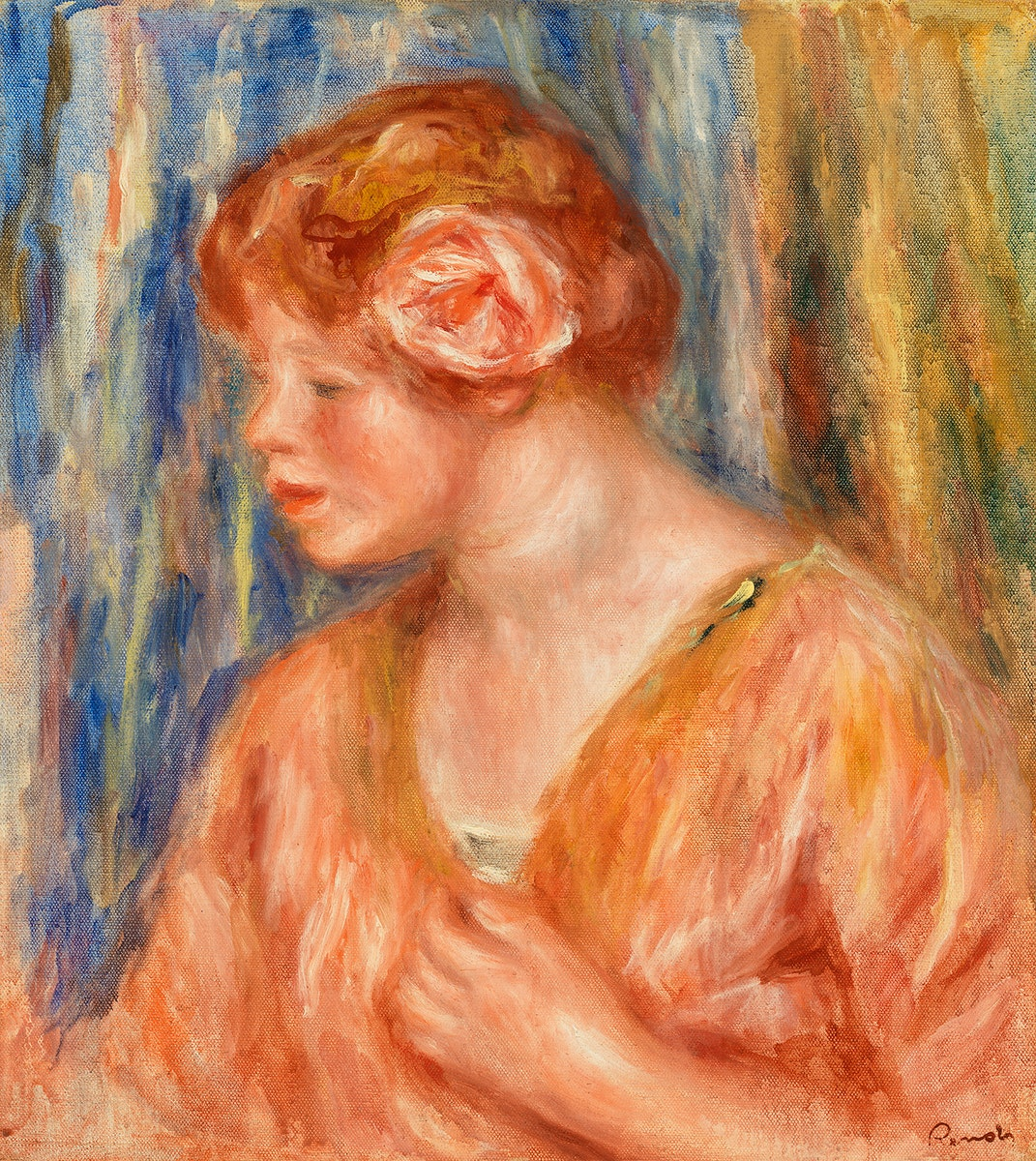 Young Woman with Rose (Jeune fille à  la rose) (1917) by Pierre-Auguste Renoir. Original from Barnes Foundation.…