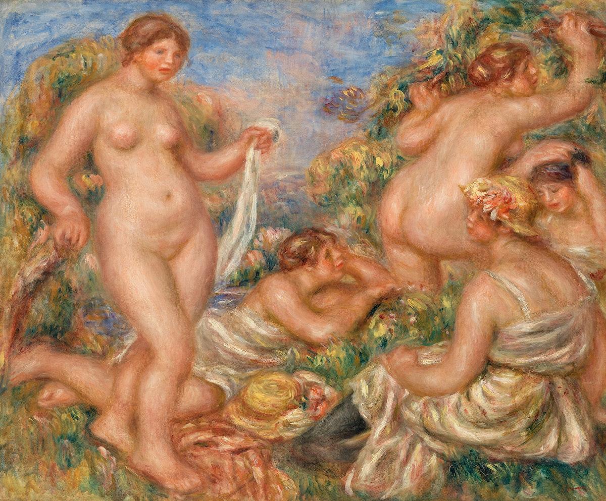 Composition, Five Bathers (Composition, cinq baigneuses) (1917–1919) by Pierre-Auguste Renoir. Original from Barnes…