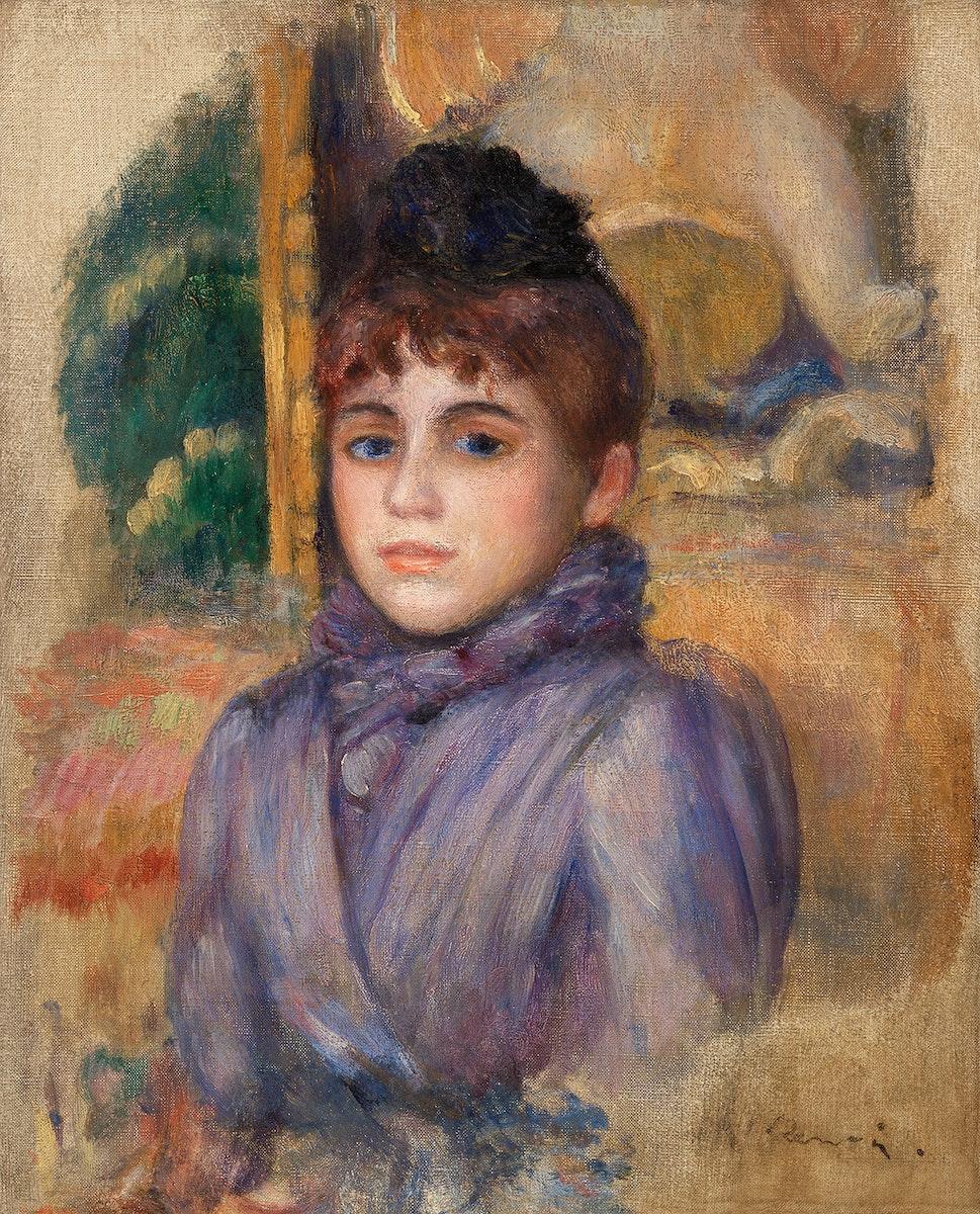 Portrait of a Young Woman (Portrait de jeune femme) (1885) by Pierre-Auguste Renoir. Original from Barnes Foundation.…