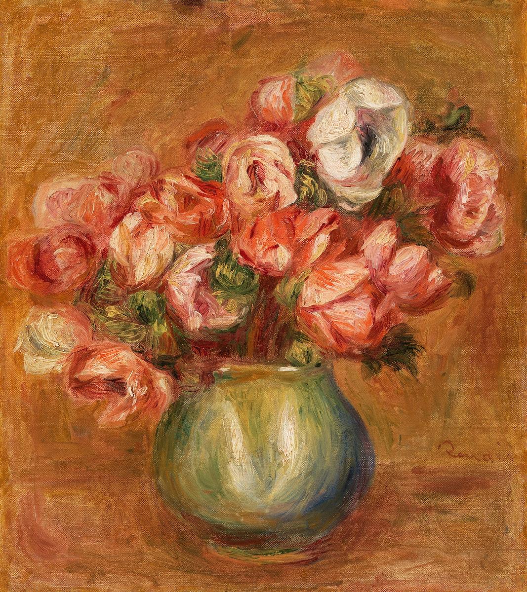 Anemones (Anémones) (1907) by Pierre-Auguste Renoir. Original from Barnes Foundation. Digitally enhanced by rawpixel.