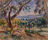 """Landscape with Figures, near Cagnes (Paysage avec figures, environs de Cagnes) (1910) by <a href=""""https://www.rawpixel.com/search/Pierre-Auguste%20Renoir?sort=curated&amp;page=1"""">Pierre-Auguste Renoir</a>. Original from Barnes Foundation. Digitally enhanced by rawpixel."""