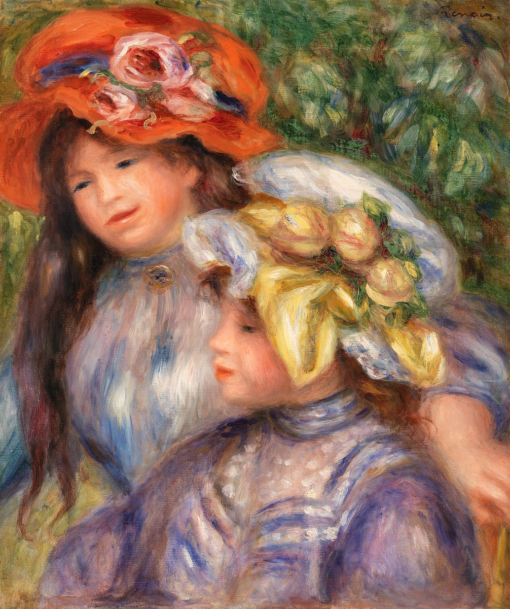 Two Girls (Deux fillettes) (1910) by Pierre-Auguste Renoir. Original from Barnes Foundation. Digitally enhanced by rawpixel.