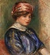 """Young Woman in Blue, Bust (Jeune femme en corsage bleu, buste) (1911) by <a href=""""https://www.rawpixel.com/search/Pierre-Auguste%20Renoir?sort=curated&amp;page=1"""">Pierre-Auguste Renoir</a>. Original from Barnes Foundation. Digitally enhanced by rawpixel."""