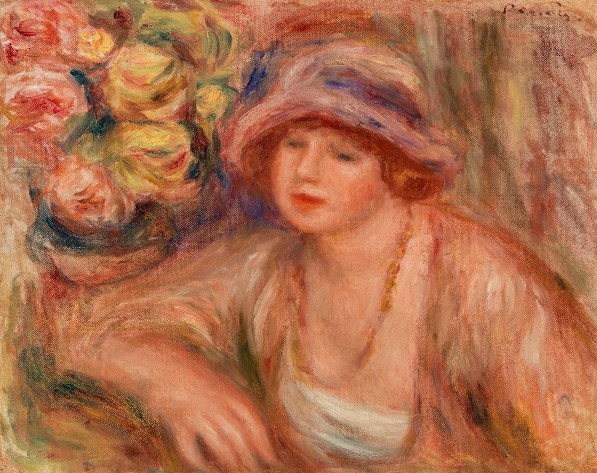 Woman Leaning (Femme accoudée) (1918) by Pierre-Auguste Renoir. Original from Barnes Foundation. Digitally enhanced by…