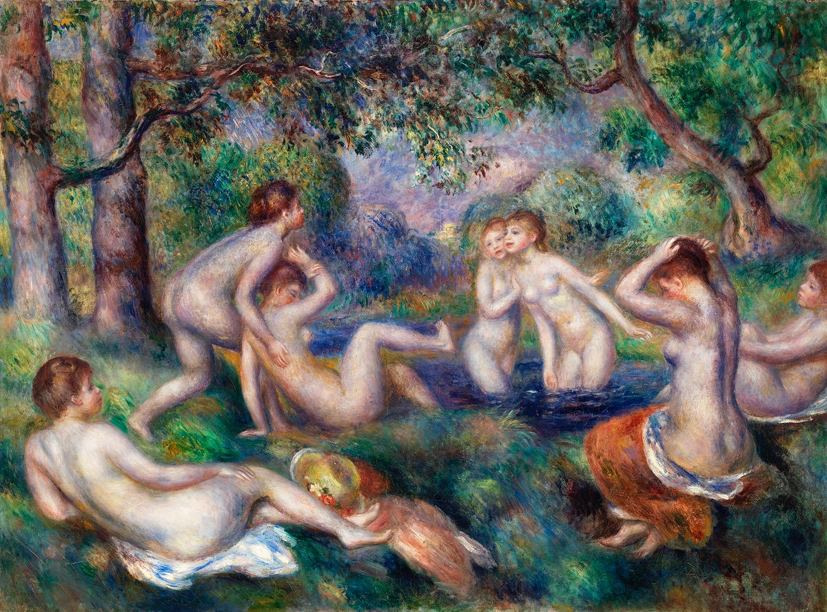 Bathers in the Forest (Baigneuses dans la forêt) (1897) by Pierre-Auguste Renoir. Original from Barnes Foundation.…