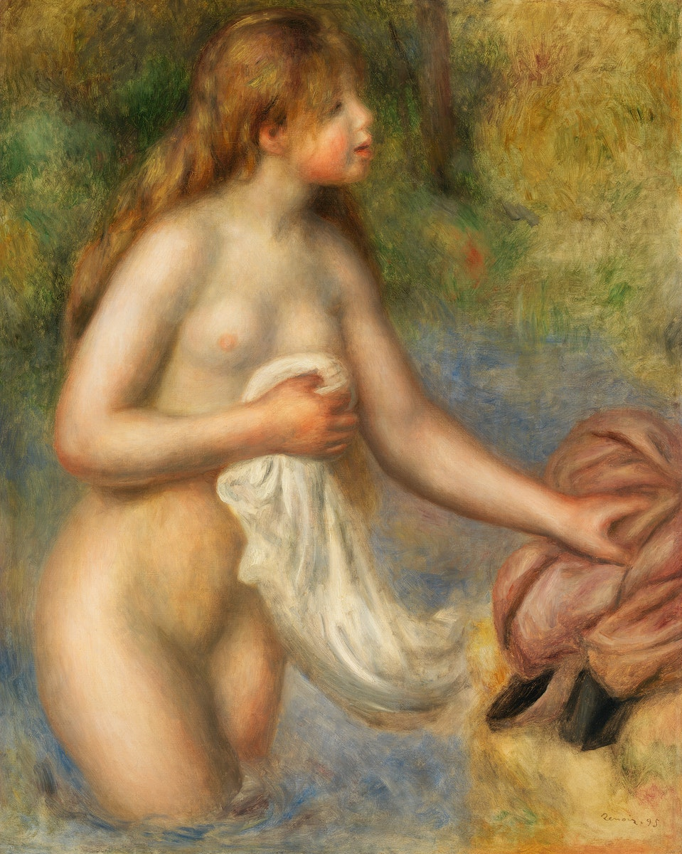 Bather (Baigneuse) (1895) by Pierre-Auguste Renoir. Original from Barnes Foundation. Digitally enhanced by rawpixel.
