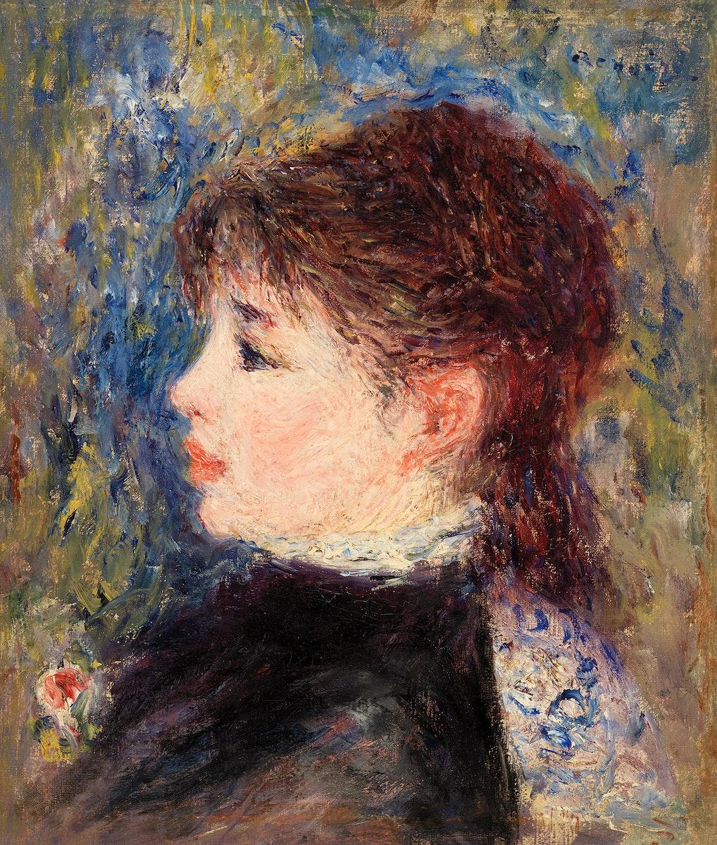 Young Woman with Rose (Jeune fille à  la rose) (1877) by Pierre-Auguste Renoir. Original from Barnes Foundation.…