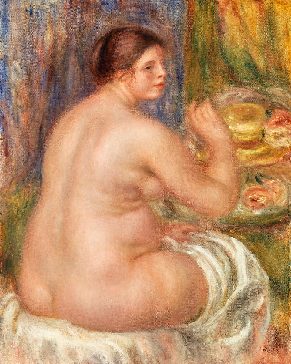 Nude from the Back (Nu de dos) (1917) by Pierre-Auguste Renoir. Original from Barnes Foundation. Digitally enhanced by…