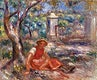 """Girl at the Foot of a Tree (Fillette au pied d&#39;un arbre) (1914) by <a href=""""https://www.rawpixel.com/search/Pierre-Auguste%20Renoir?sort=curated&amp;page=1"""">Pierre-Auguste Renoir</a>. Original from Barnes Foundation. Digitally enhanced by rawpixel."""