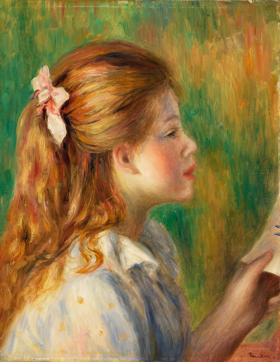 Reading (La Lecture) (1892) by Pierre-Auguste Renoir. Original from Barnes Foundation. Digitally enhanced by rawpixel.