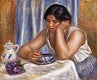 """Cup of Chocolate (Femme prenant du chocolat) (1912) by <a href=""""https://www.rawpixel.com/search/Pierre-Auguste%20Renoir?sort=curated&amp;page=1"""">Pierre-Auguste Renoir</a>. Original from Barnes Foundation. Digitally enhanced by rawpixel."""