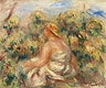 """Woman with Hat in a Landscape (Femme avec chapeau dans un paysage) (1918) by <a href=""""https://www.rawpixel.com/search/Pierre-Auguste%20Renoir?sort=curated&amp;page=1"""">Pierre-Auguste Renoir</a>. Original from Barnes Foundation. Digitally enhanced by rawpixel."""