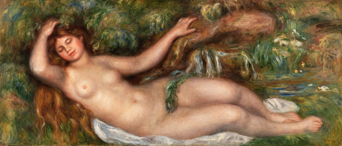 Reclining Nude (Femme nue couchée) (1910) by Pierre-Auguste Renoir. Original from Barnes Foundation. Digitally…