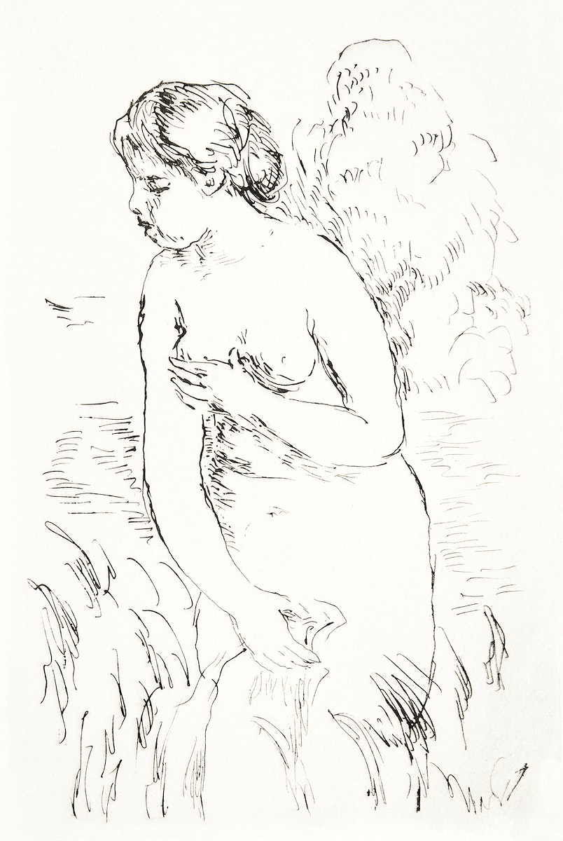 Baigneuse debout, à mi-jambes (Standing Bather, Down to the Knees) (1910) by Pierre-Auguste Renoir. Original from Yale…