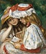 """Two Girls Reading (c. 1890&ndash;1891) by <a href=""""https://www.rawpixel.com/search/Pierre-Auguste%20Renoir?sort=curated&amp;page=1"""">Pierre-Auguste Renoir</a>. Original from The Los Angeles County Museum of Art. Digitally enhanced by rawpixel."""
