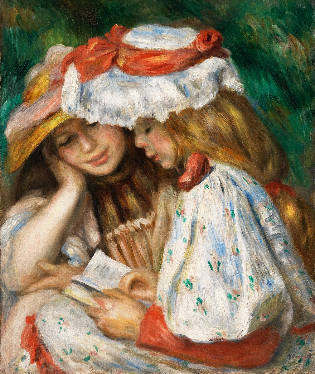 Two Girls Reading (c. 1890–1891) by Pierre-Auguste Renoir. Original from The Los Angeles County Museum of Art.…