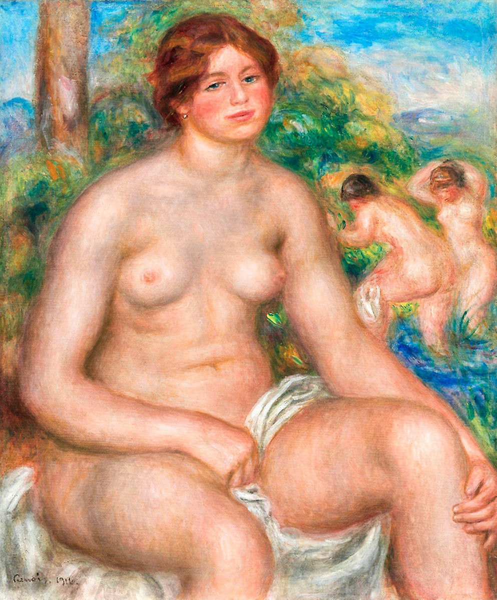 Seated Bather (1914) by Pierre-Auguste Renoir. Original from The Art Institute of Chicago. Digitally enhanced by rawpixel.