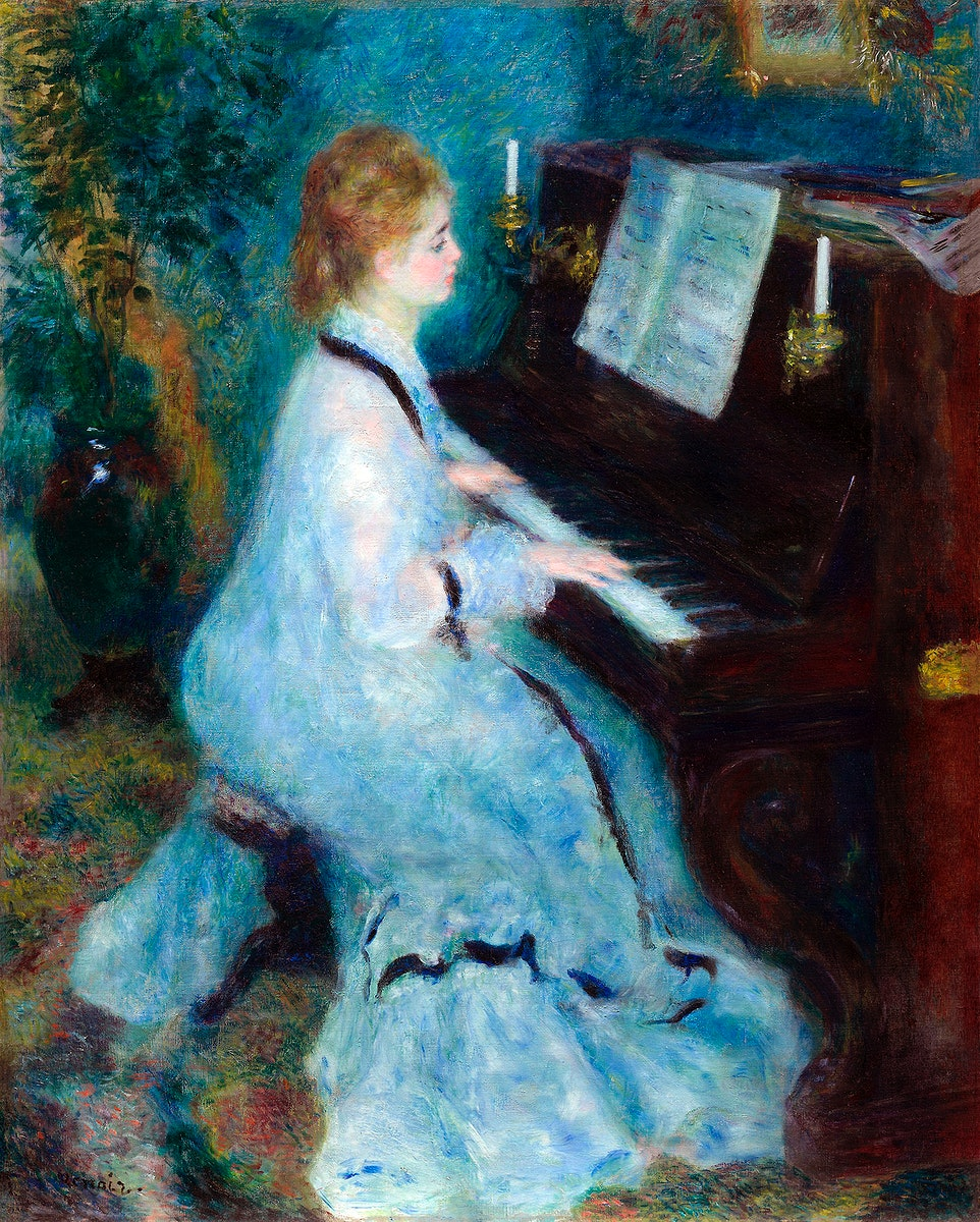 Woman at the Piano (1875–1876) by Pierre-Auguste Renoir. Original from The Art Institute of Chicago. Digitally enhanced…