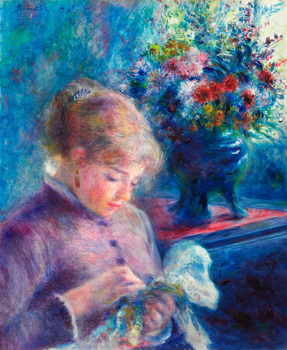 Young Woman Sewing (1879) by Pierre-Auguste Renoir. Original from The Art Institute of Chicago. Digitally enhanced by…