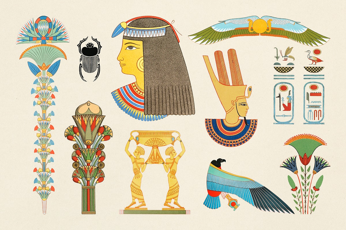Ancient Egyptian ornamental psd pack