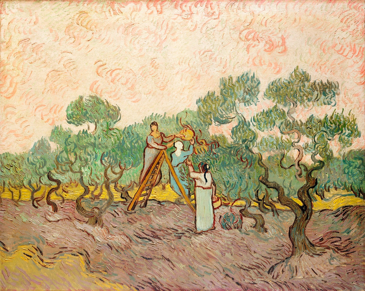 Women Picking Olives (1889) by Vincent Van Gogh. Original from the MET Museum. Digitally enhanced by rawpixel.