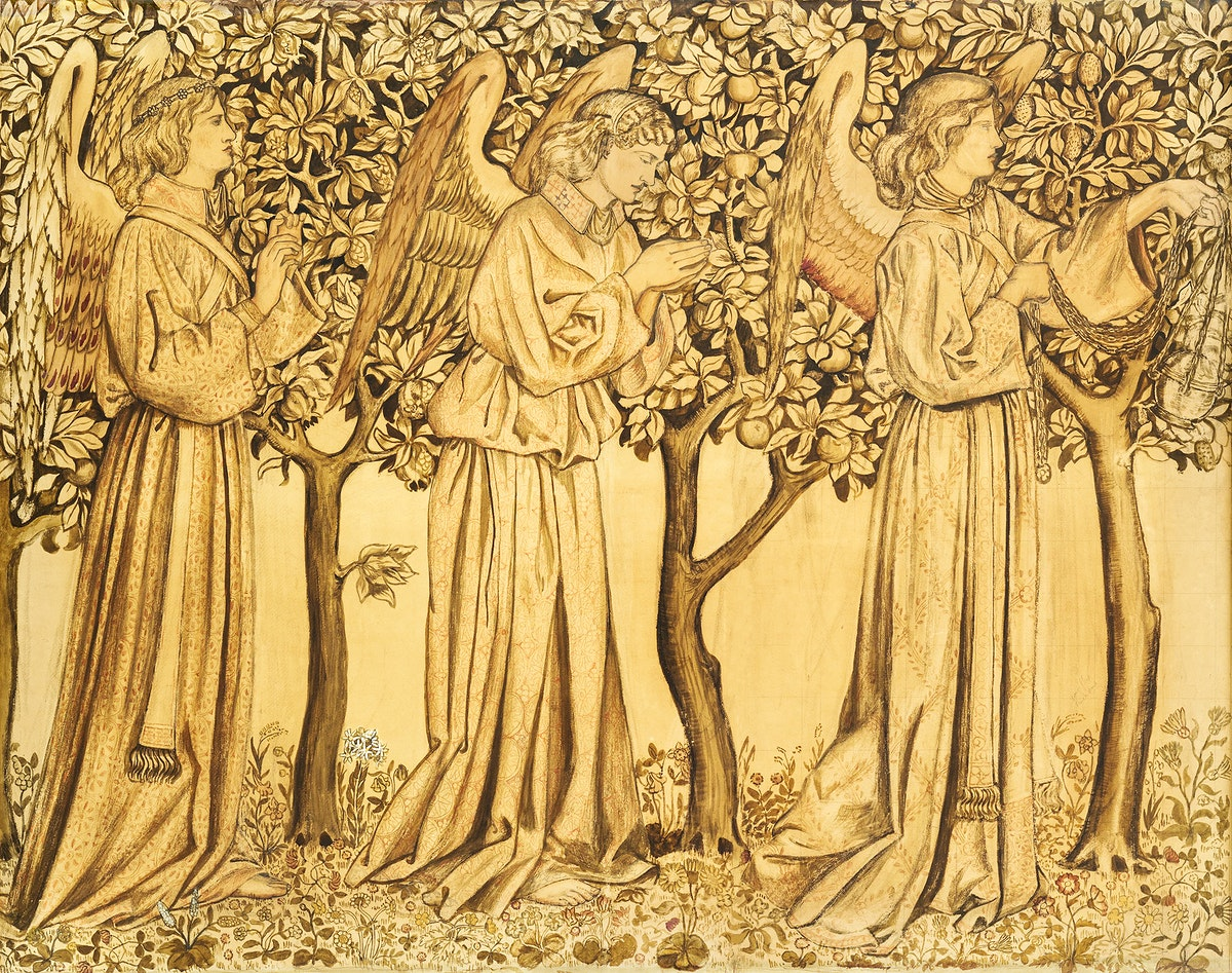 Tile Design–Processing Angels (1866) by William Morris. Original from The Birmingham Museum. Digitally enhanced by…