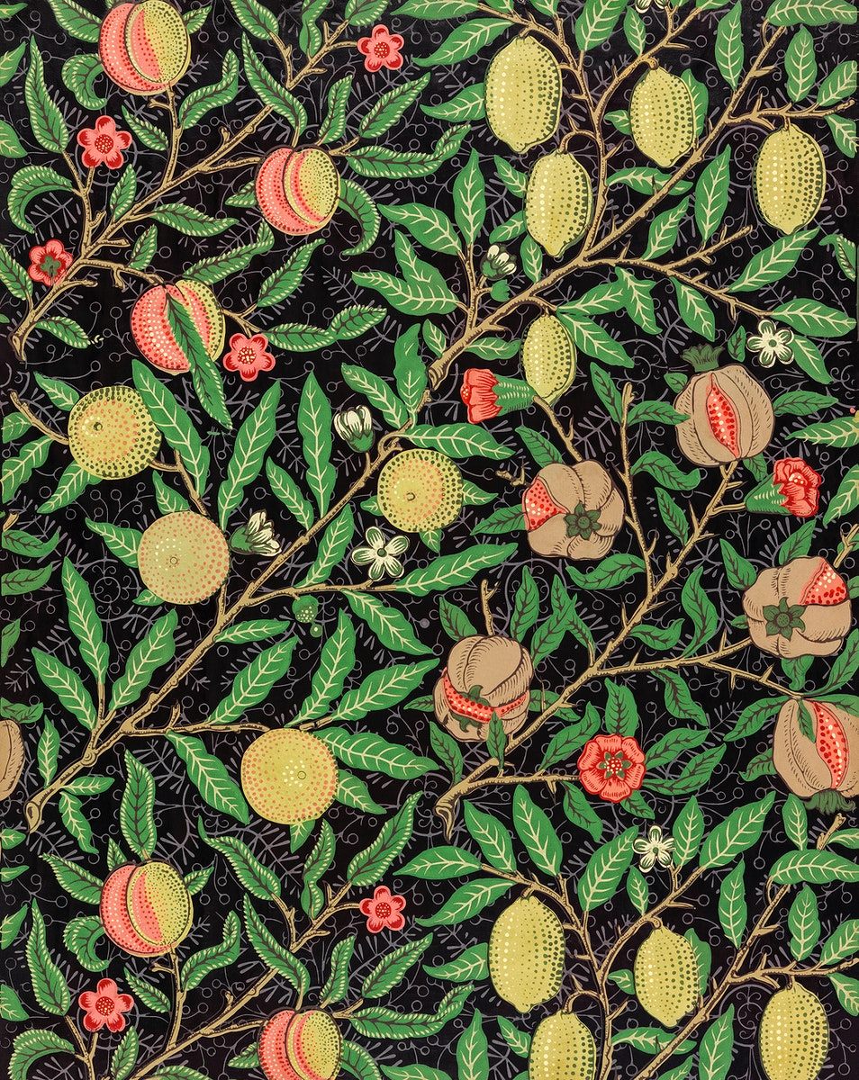 Fruit pattern (1862) by William Morris. Original from The Smithsonian Institution. Digitally enhanced by rawpixel.