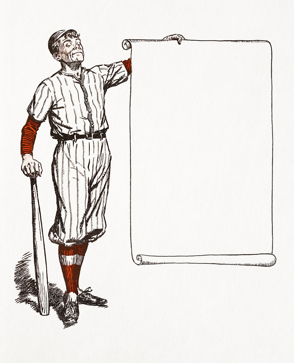 Frame with a baseball player