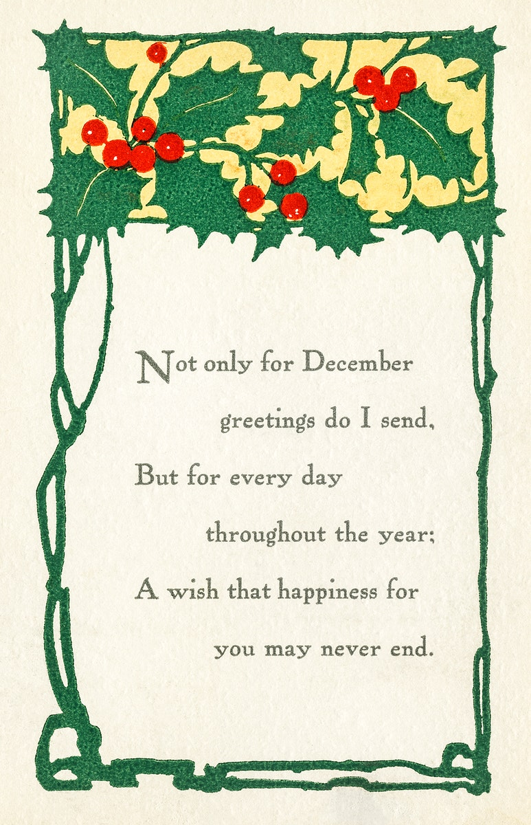 Christmas Greeting Card (ca. 1922) from The Miriam and Ira D. Wallach Division of Art, Prints and Photographs. Original from…