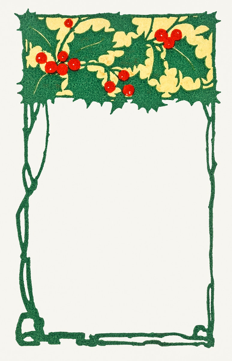 Festive holly leaves frame illustration