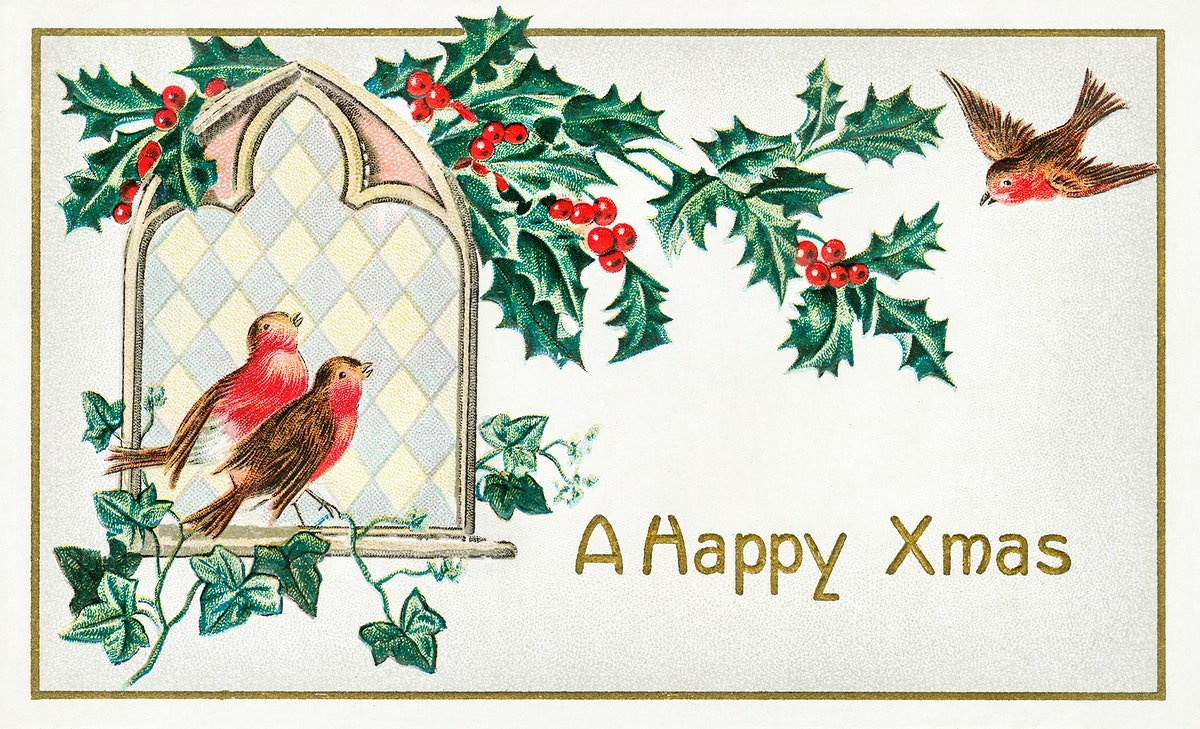 A Happy Xmas Postcard (1912) by J. Herman. Original from The New York Public Library. Digitally enhanced by rawpixel.