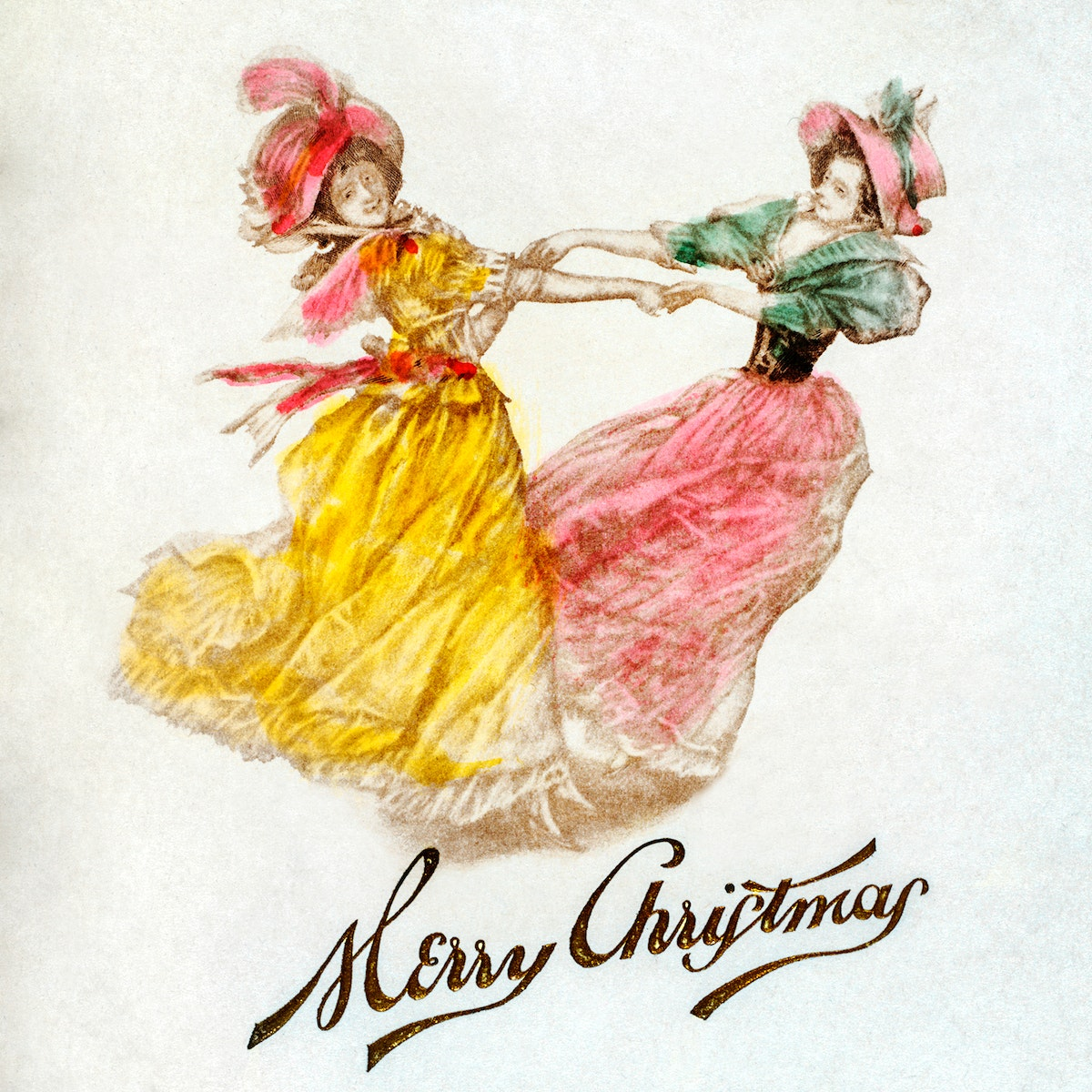 Christmas Dinner Card with Women Dancing (1900) by Battery Park Hotel, Asheville, NYC. Original from The New York Public…