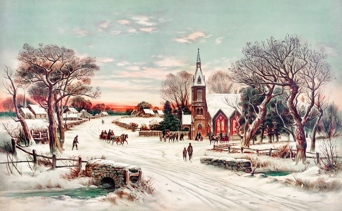 Christmas Eve by Hoover & Son. Original from The New York Public Library. Digitally enhanced by rawpixel.
