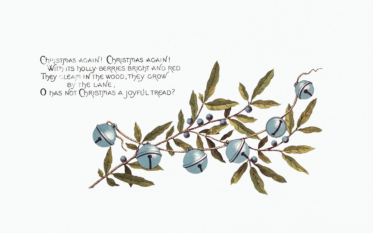 Christmas Card Depicting Bells and Blueberries (1865–1899) by L. Prang & Co. Original from The New York Public Library.…